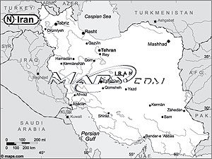 Iran Black & White Outline Digital Map