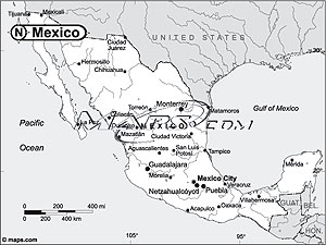 Mexico Black & White Outline Digital Map