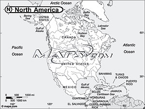 North America Continent Black & White Outline Digital Map