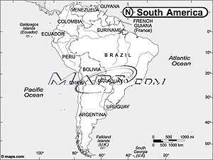 South America Continent Black & White Outline Digital Map from