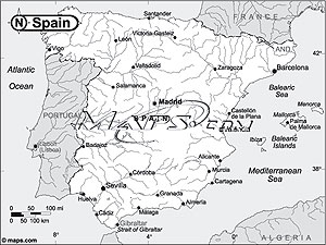 Spain Black & White Outline Digital Map