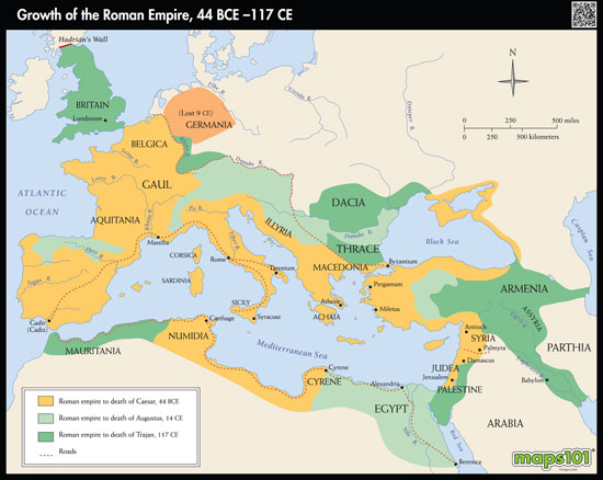Map of the Growth of the Roman Empire by Maps from Maps – Roman Empire Worksheets