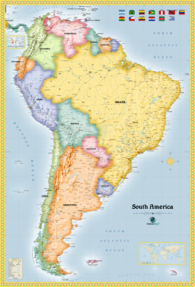 South America Political Wall Map by OutlookMaps from Maps.com.