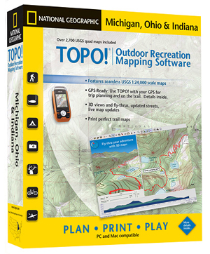 TOPO!® Michigan, Ohio and Indiana Outdoor Recreation Mapping Software