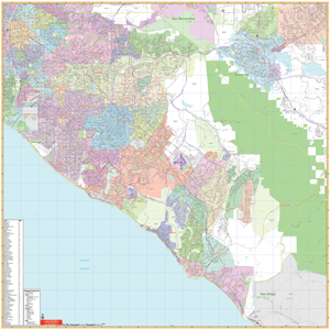 Orange County, California Wall Map