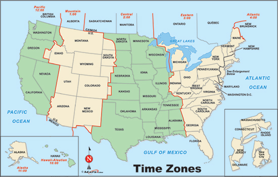 Maps United States Map With Time Zones - Time zones in the us map