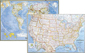 National Geographic USA and World Political Wall Map Set