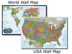 National Geographic USA and World Decorator Wall Map Set