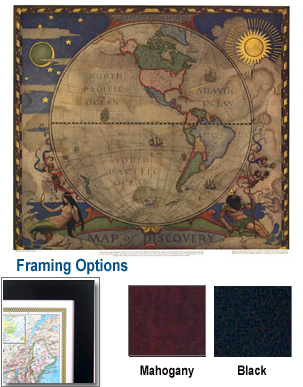Map of Discovery-Western Hemisphere Framed Map