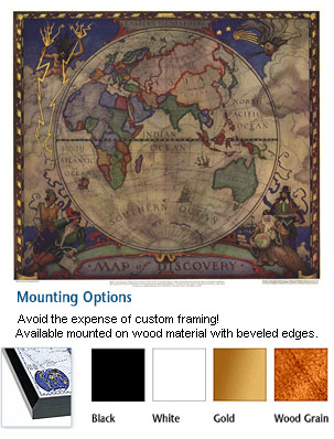 Map of Discovery-Eastern Hemisphere Mounted Map