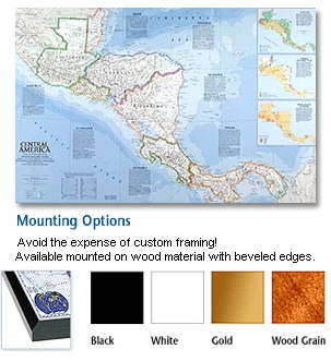 Central America Mounted Wall Map