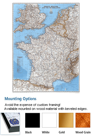 France Mounted Wall Map