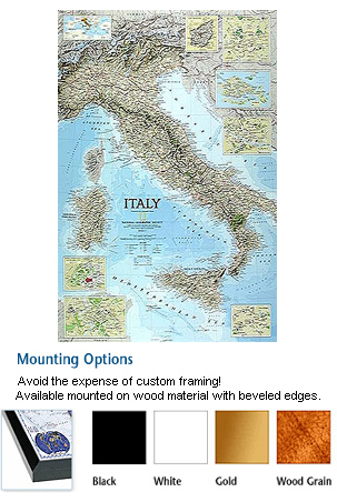 Italy Mounted Wall Map