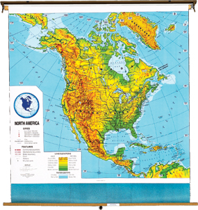 North America Physical Political Wall Map