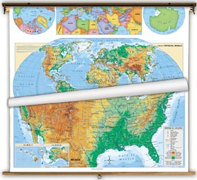 US & World Physical Wall Map Set