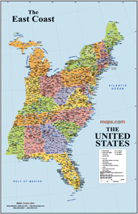 maps us map east coast