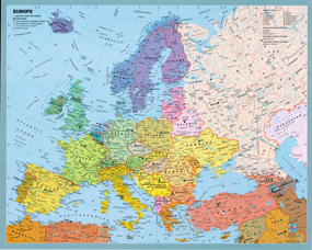 Latitude Map Of Europe.Europe Political Wall Map By Gabelli From Maps Com