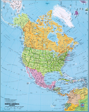 Map Of North America With Latitude And Longitude.North America Political Wall Map By Gabelli From Maps Com