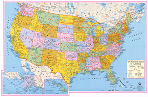 Basic Map Of Us - Map of the us with longitude and latitude