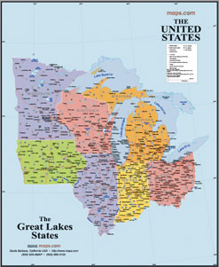 Great Lakes States USA Wall Map
