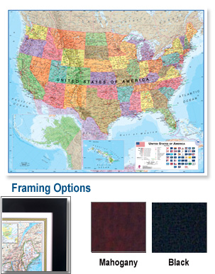 USA Framed Wall Map