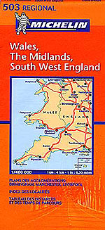 Wales, The Midlands, Southwest England Travel Map