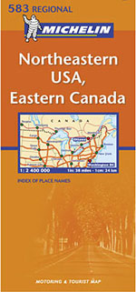 USA, Northeastern and Eastern Canada Travel Map