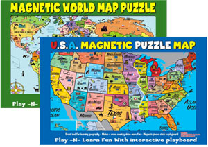 Magnetic USA and World Puzzle Map Set