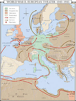 World War II in Europe Wall Map