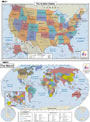 Maps.com USA World Combo Desk Map Grades 3-5