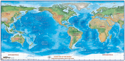 World Ocean Shaded Relief Wall Map