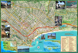 Santa Barbara Street and Guide Wall Map