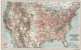 General Map of the United States of America, 1909