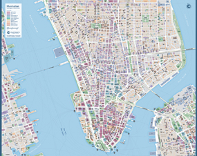 Manhattan New York Wall Map