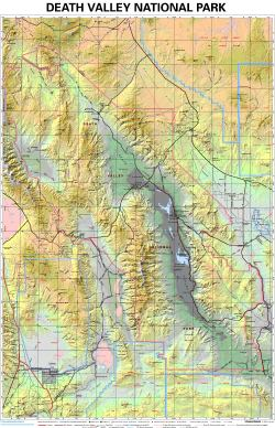 Death Valley Elevation Map.Death Valley National Park Wall Map By Tom Harrison Maps From Maps Com