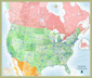 USA and Canada Highway Wall Map