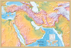 Middle East Physical Wall Map