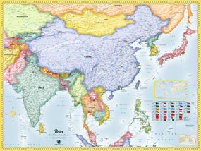 Asia Political Wall Map by OutlookMaps from Maps.com. Asia Wall Maps