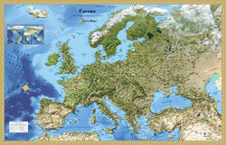 Europe Satellite Reference Wall Map