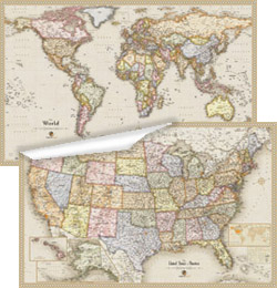Antique USA and World Wall Map Set