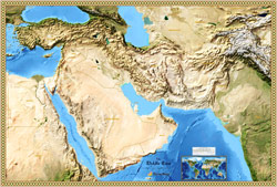 Middle East Satellite Wall Map by TierraMaps from Mapscom
