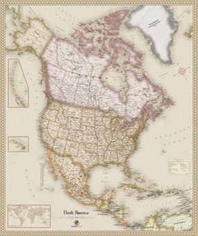 Antique Style North America Wall Map