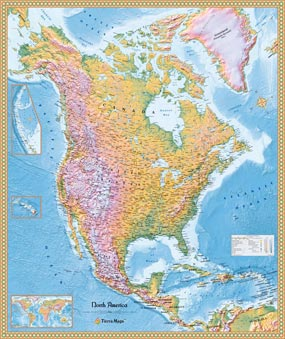 North America Physical Wall Map by TierraMaps from Maps.com.