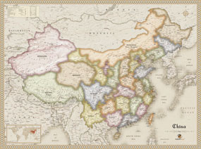 Antique Style China Wall Map
