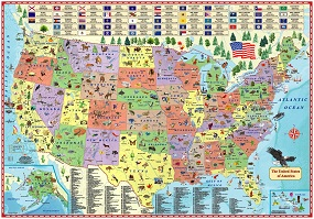 Illustrated Map of the US for kids