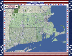Massachusetts, Connecticut and Rhode Island Wall Map