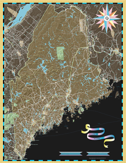 Maine Deco Wall Map
