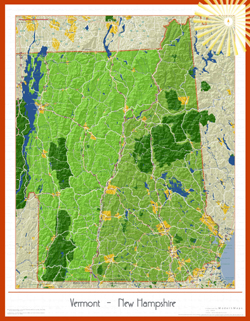 New Hampshire and Vermont Soleil Wall Map