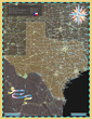 Texas Deco Wall Map