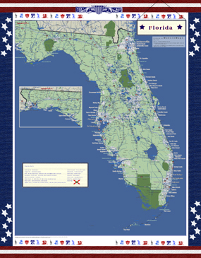 Florida Americana Wall Map